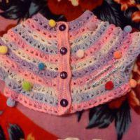Разноцветное пончо для 11-летней девочки