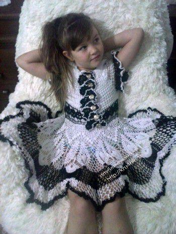 Ажурное платье для девочки 6 лет. Вязание крючком.