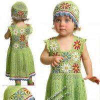 Ажурное платье и шапочка для девочки 2-х лет