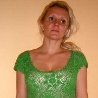 Зеленое платье в технике ирландского кружева