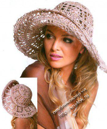 Ажурная женская шляпа с широкими полями