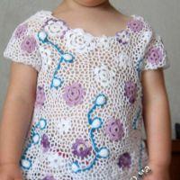 Платье для девочки 2-х лет в технике ирландского кружева