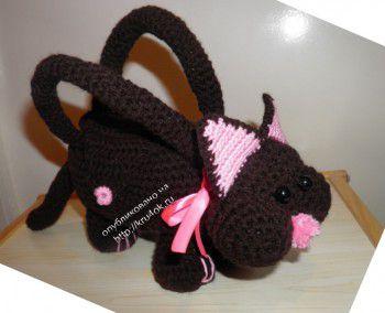 Вязаная сумка – кошка. Вязание крючком.