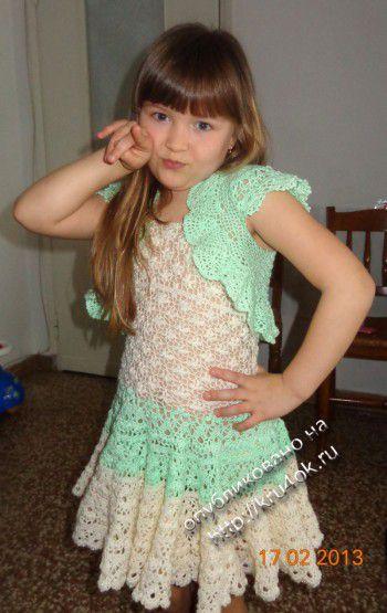 Платье и болеро для девочки. Вязание крючком.