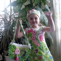 Детское платье и шапочка в технике ирландского кружева