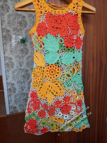 Детское платье «Летние мотивы» — работа Эльвиры Алеевой. Вязание крючком.