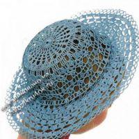 Голубая шляпа крючком
