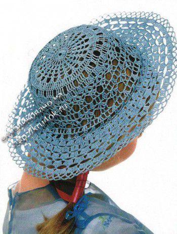 Голубая шляпа крючком. Вязание крючком.
