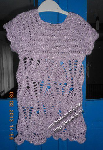 Платье с ананасами крючком для девочки 1,5- 2 года. Вязание крючком.