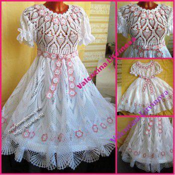 Платье на выпускной «Жемчужинка». Вязание крючком.
