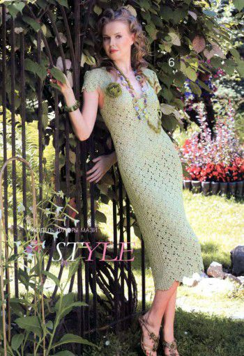 Зеленое платье в технике ленточного кружева. Вязание крючком.