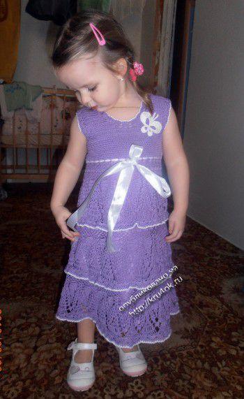 Сарафан для девочки — работа Аллы. Вязание крючком.