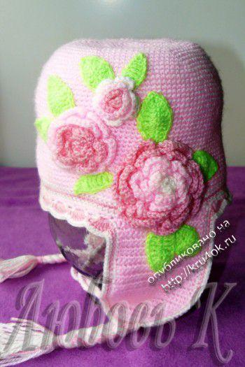Весенняя шапочка для девочки 3-5 лет. Вязание крючком.
