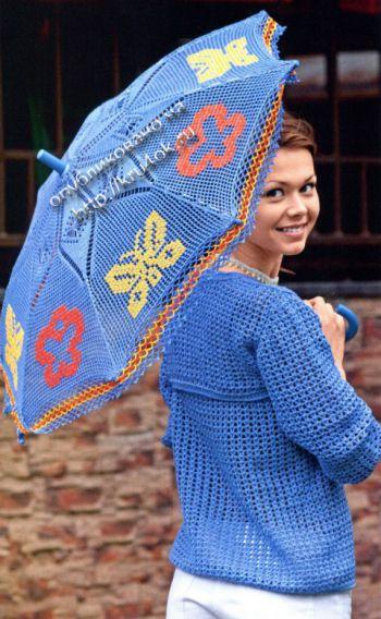 Ажурный зонт крючком с бабочками