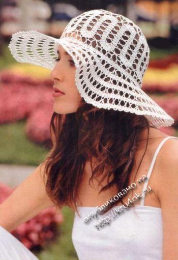 Ажурная шляпа крючком. Вязание