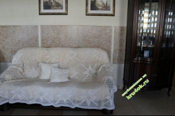Вязаное покрывало и подушки. Вязание крючком.