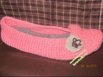 Домашние тапочки – работа Алены. Вязание крючком.
