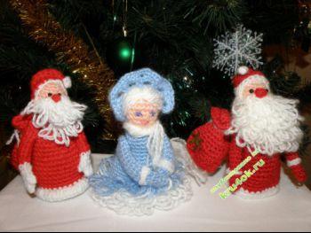 Вязаные дед мороз и снегурочка – работы Ганусевич Анны. Вязание крючком.