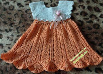 Платье для девочки «Колосок». Вязание крючком.