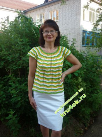 Летняя блуза – работа Беляевой Татьяны. Вязание крючком.