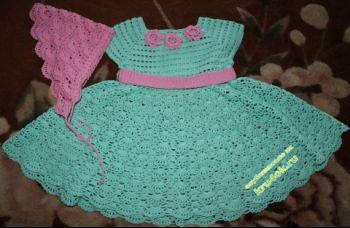 Платье и косынка для девочки. Вязание крючком.