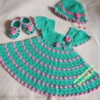 Платье, шапочка и пинетки для девочки