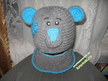 "Шапка – шлем ""Тедди"". Вязание крючком."