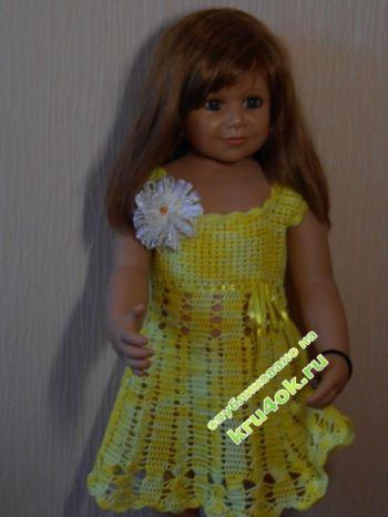 Желтое платье для девочки. Вязание крючком.