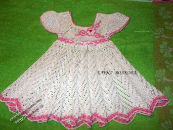 Детское ажурное платье. Вязание крючком.