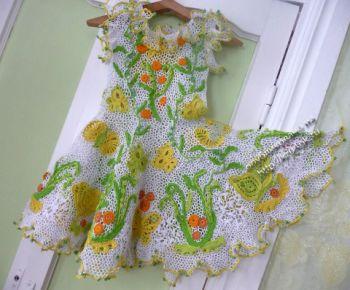 Вязаное крючком платье «Вальс бабочек». Вязание крючком.