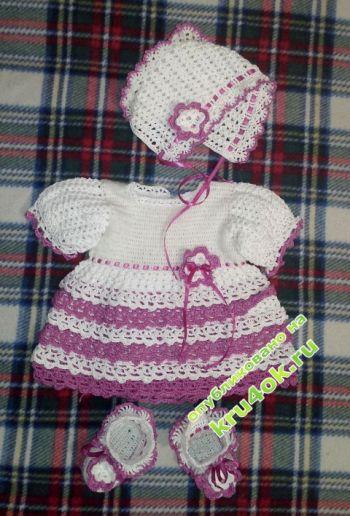 Бело-розовое платье — работа Елены. Вязание крючком.