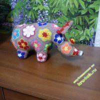 Вязание крючком из мотивов африканский цветок: носорог и жираф