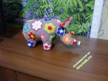 Вязание крючком из мотивов африканский цветок: носорог и жираф. Вязание крючком.