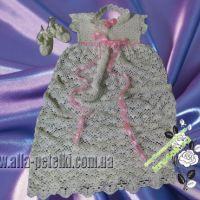Платье вязаное крестильное — работа Аллы