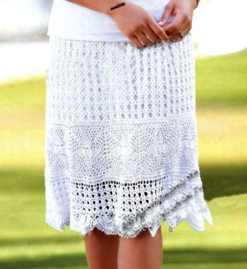 Короткая ажурная юбка крючком