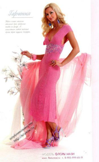 Розовое платье крючком в технике ленточное кружево