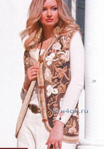 Схема вязания теплой безрукавки от Марии Казановой