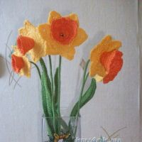 Вязаные цветы - работы Натальи