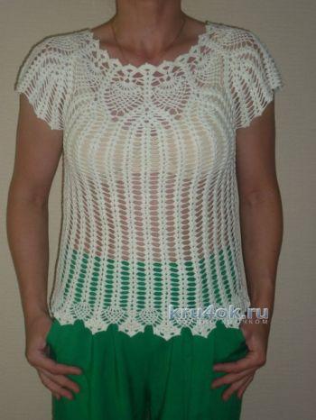 Белая блузка крючком – работа Беляевой Татьяны. Вязание крючком.