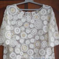 Блуза большого размера связанная крючком — работа Анны