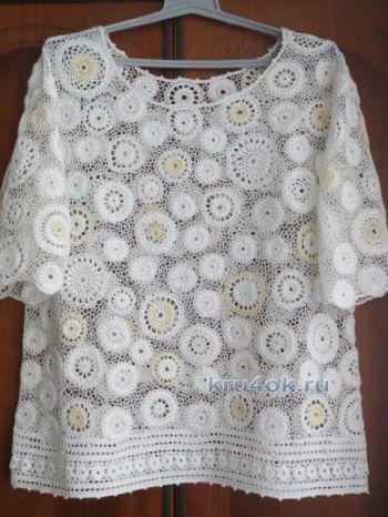 Блуза большого размера связанная крючком – работа Анны. Вязание крючком.