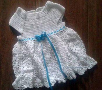 Вязаное платье для девочки — работа Веры. Вязание крючком.
