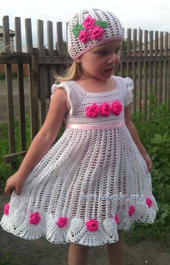 Детское платье крючком — работа Анастасии Оринтас. Вязание крючком.