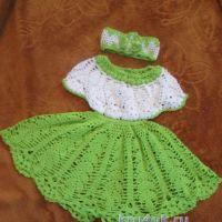 Платье, повязка и пинетки для девочки — работы Натальи