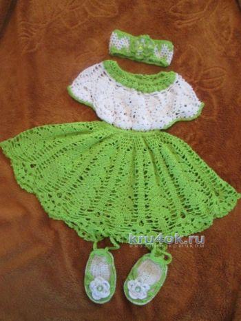 Платье, повязка и пинетки для девочки — работы Натальи. Вязание крючком.