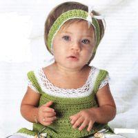 Зеленое платье-туника  крючком и «тиара»