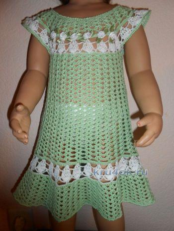 Детское платье Весенняя мята — работа Татьяны Султановой. Вязание крючком.