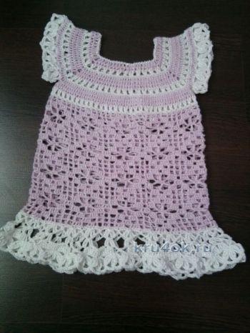 Детское платье крючком — работа Людмилы. Вязание крючком.