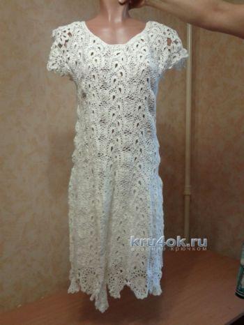 Платье в технике ленточного кружева. Вязание крючком.
