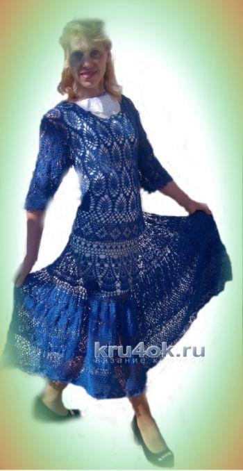 Ажурное женское платье крючком – работа Ирины. Вязание крючком.